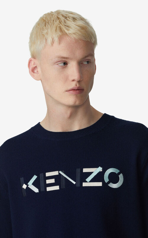 NAVY BLUE KENZO Logo jumper for men