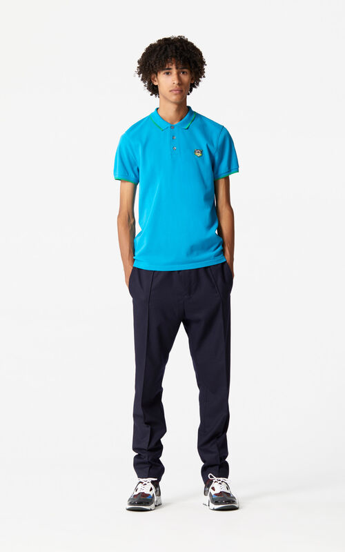 TURQUOISE Regular fit Tiger Polo shirt  for men KENZO