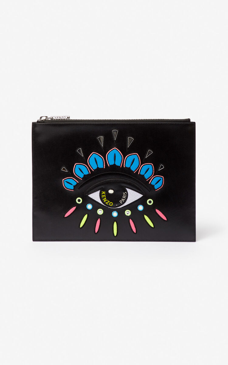 BLACK A4 Eye leather clutch for women KENZO