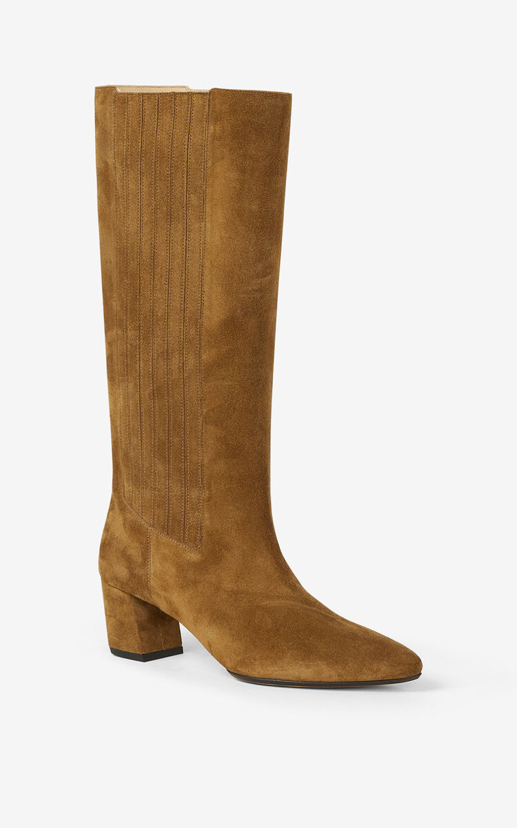 DARK CAMEL K-Line Soft heeled suede boots for women KENZO