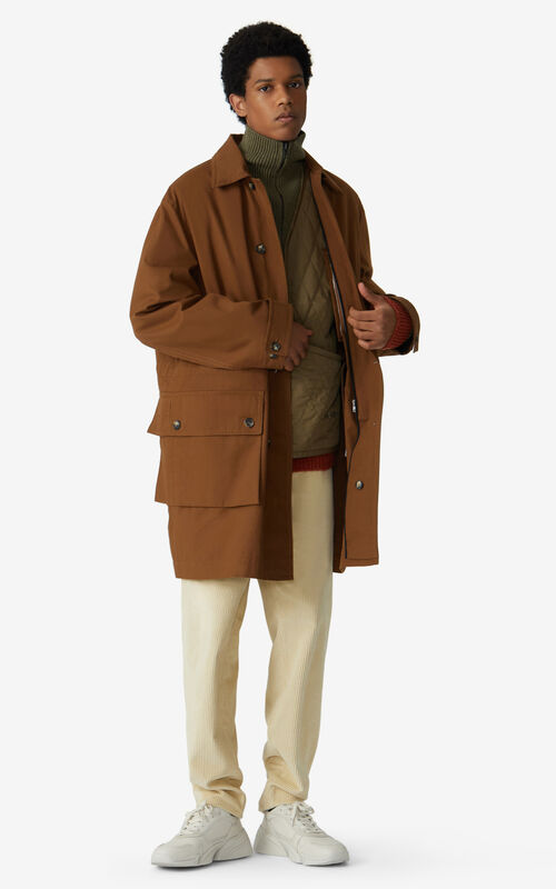 DARK CAMEL Long 2-in-1 military coat for men KENZO