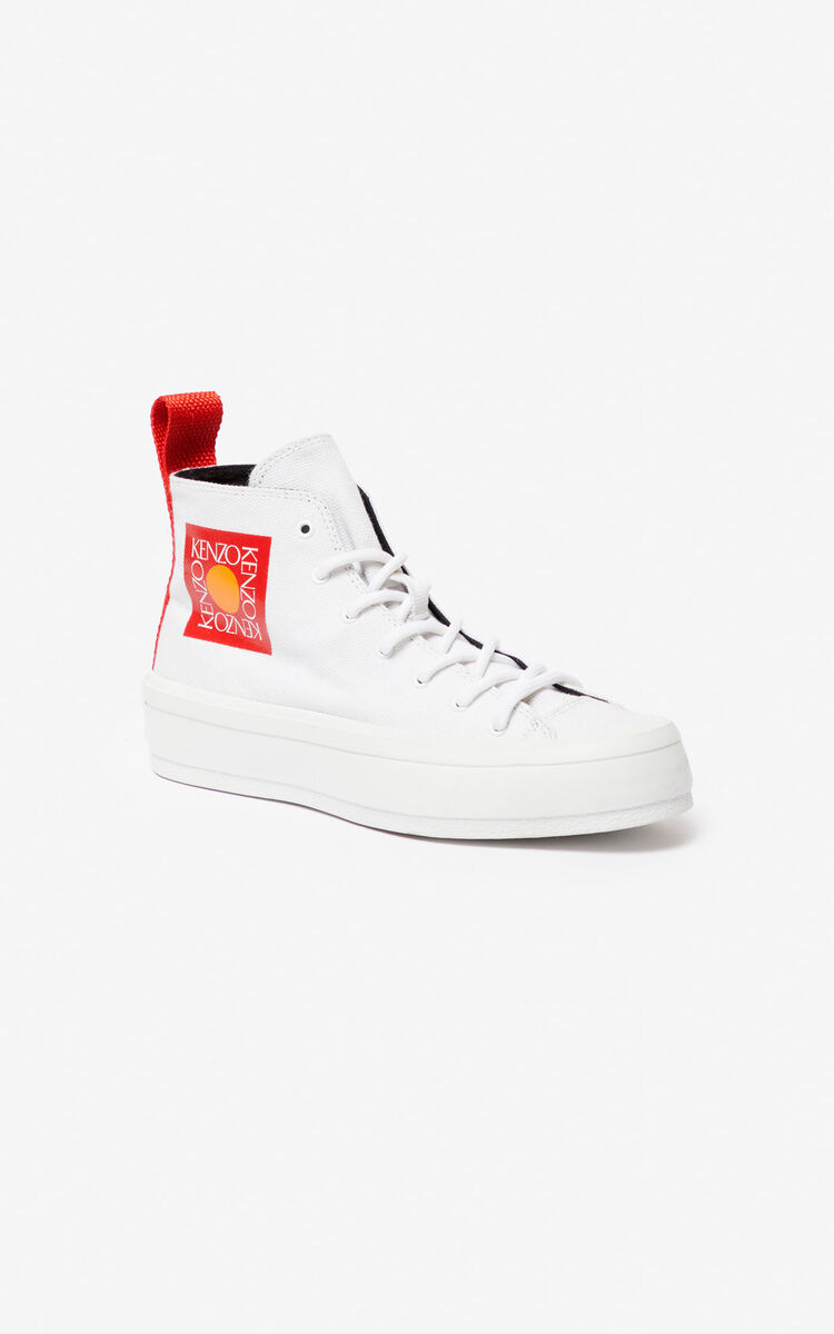 WHITE 'Square Logo' K-Street sneakers for unisex KENZO