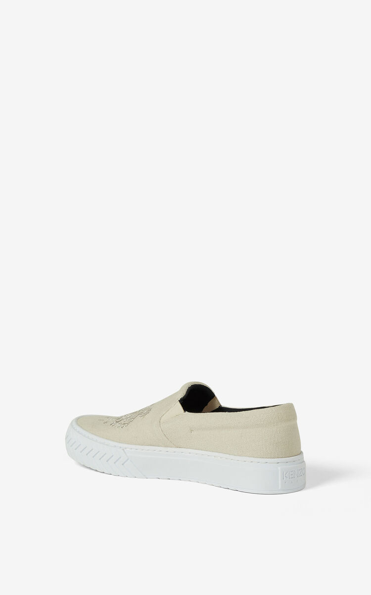 ECRU Canvas slip-on K-Skate Tiger sneakers for unisex KENZO