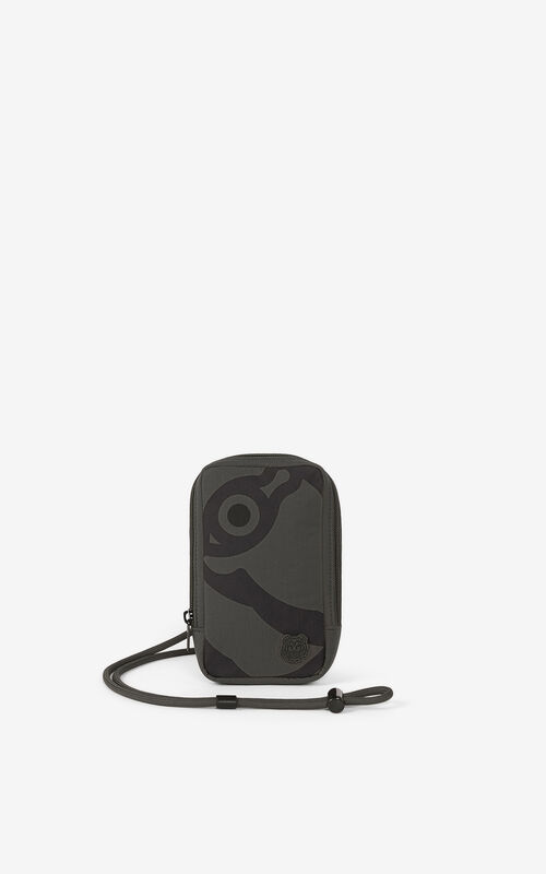 STONE GREY K-Tiger phone holder with strap for women KENZO