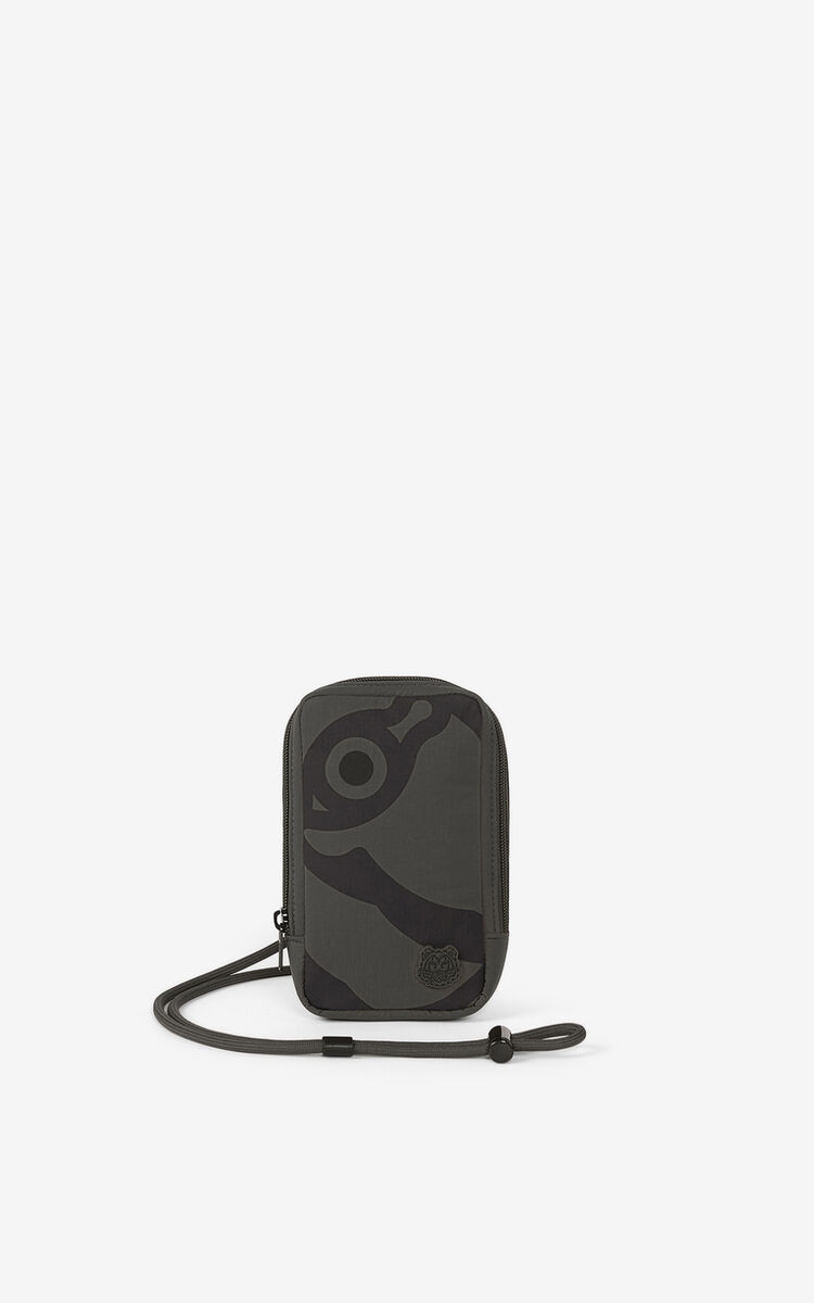 STONE GREY K-Tiger phone holder with strap for unisex KENZO