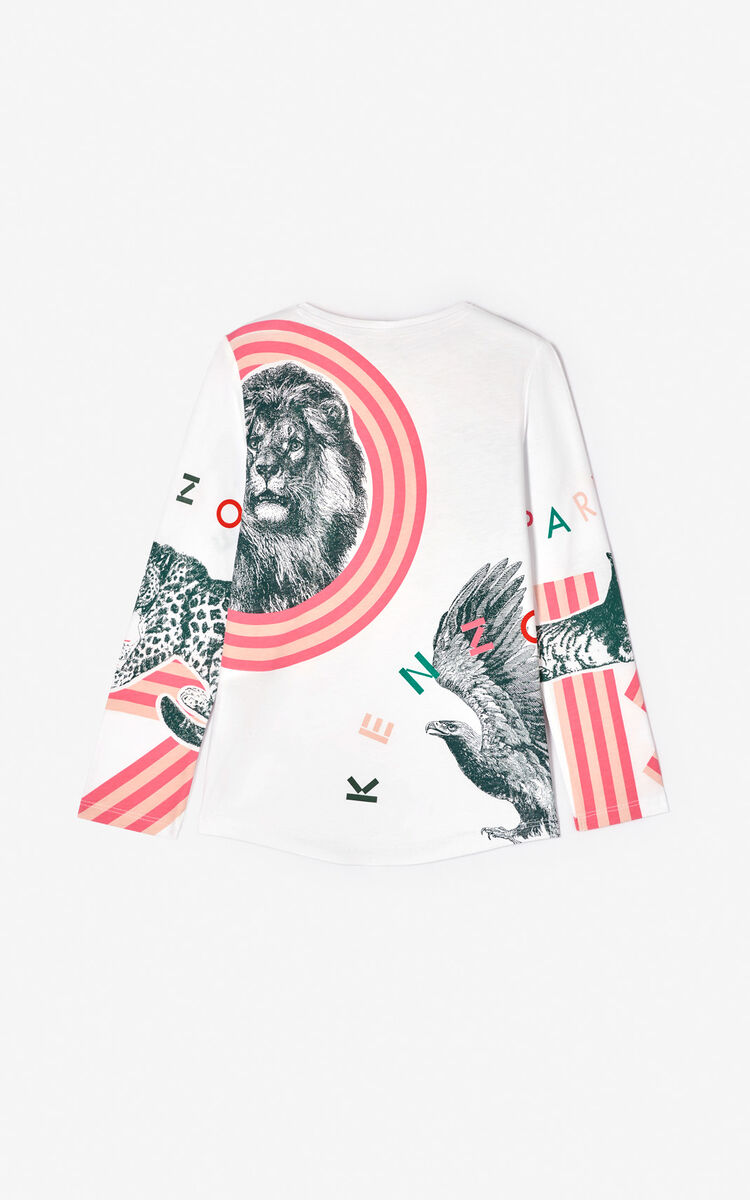 WHITE Multi-icon 'Crazy Jungle' T-shirt for women KENZO