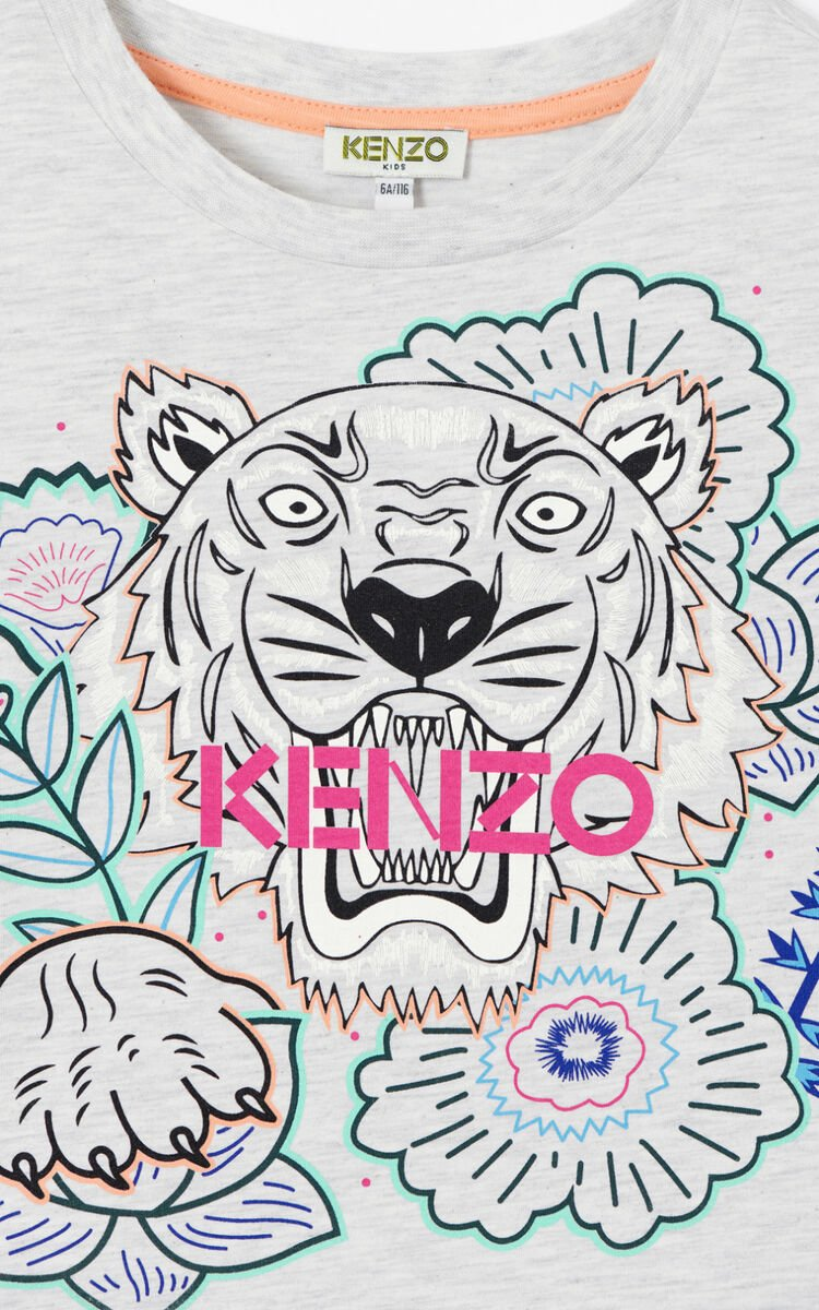 PALE GREY 'Disco Jungle' Tiger dress for women KENZO