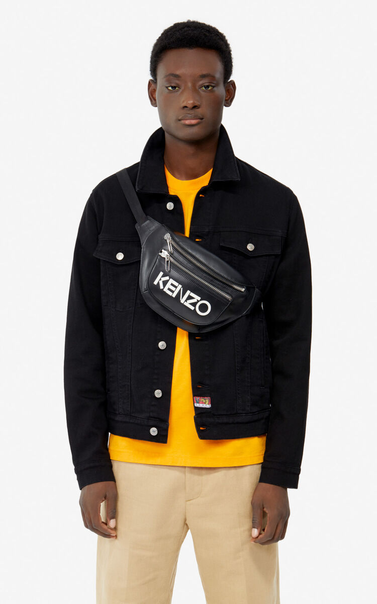 BLACK KENZO logo leather bumbag  for unisex