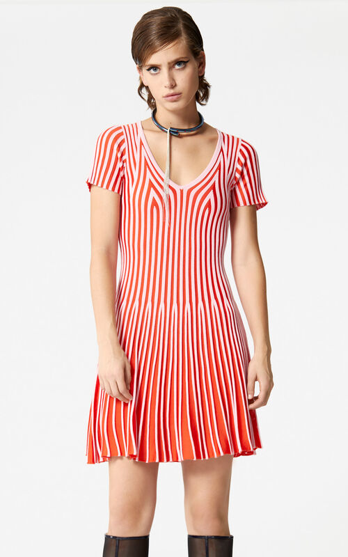 FLAMINGO PINK Two-toned pleated dress for women KENZO