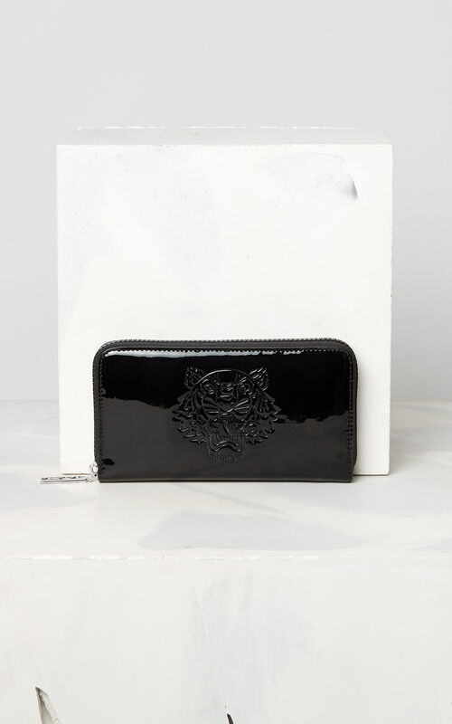 BLACK Patent Tiger wallet for women KENZO