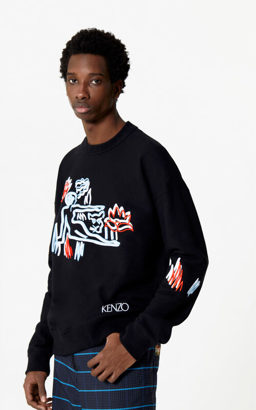 BLACK Sketch sweatshirt for men KENZO