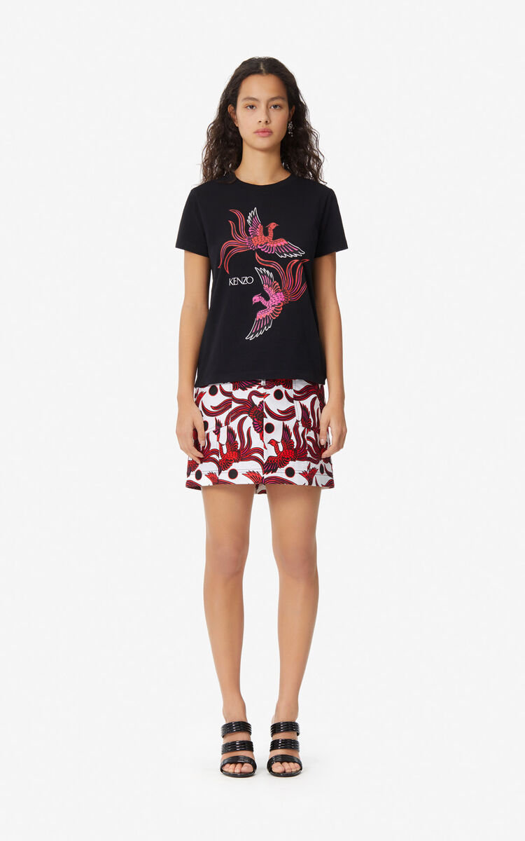 BLACK 'Flying Phoenix' T-shirt for women KENZO