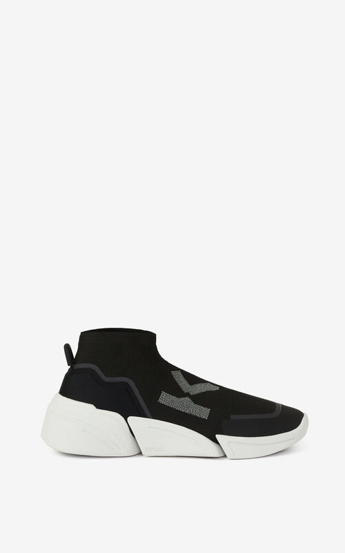 BLACK K-SOCK 'K Logo' lace-free sneakers for unisex KENZO