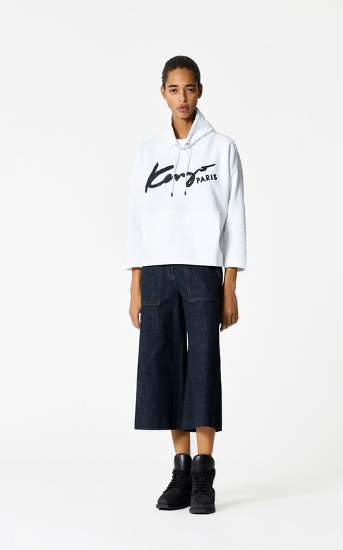 WHITE KENZO Signature cropped hoodie for women