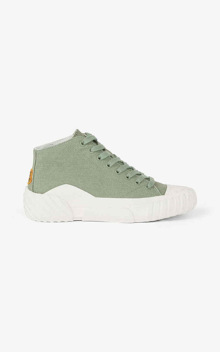 LIME TEA Canvas Tiger Crest high-top trainers for unisex KENZO