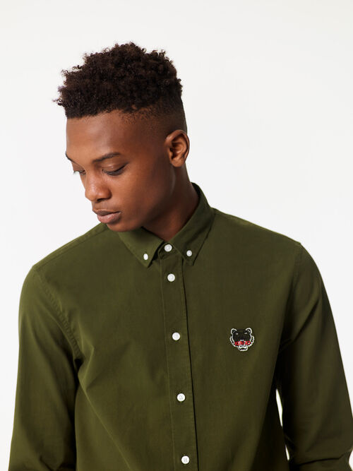 DARK KHAKI Tiger Crest Shirt for men KENZO