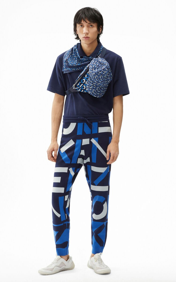 MIDNIGHT BLUE KENZO Sport monogram jacquard trousers for men