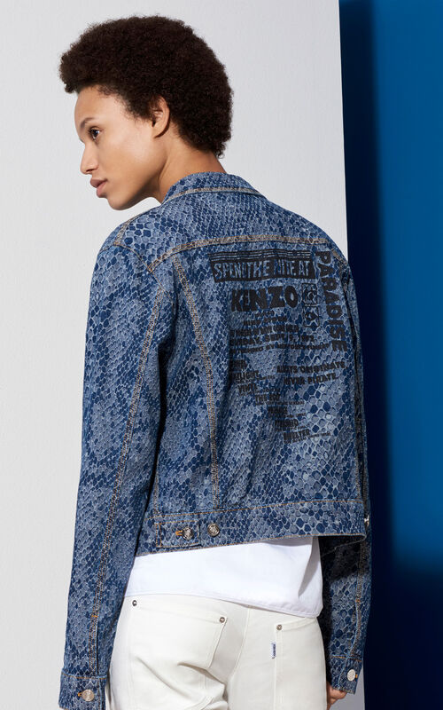 Snake Denim Jacket , NAVY BLUE, KENZO