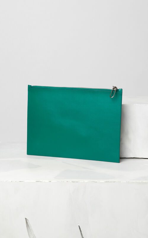 BOTTLE GREEN A4 KENZO Colorblock leather clutch for men