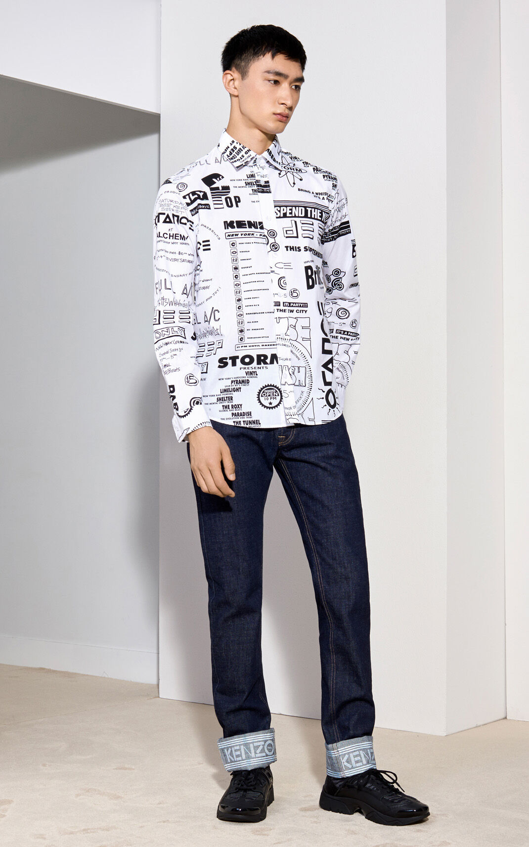 WHITE Flyers Casual Shirt for men KENZO