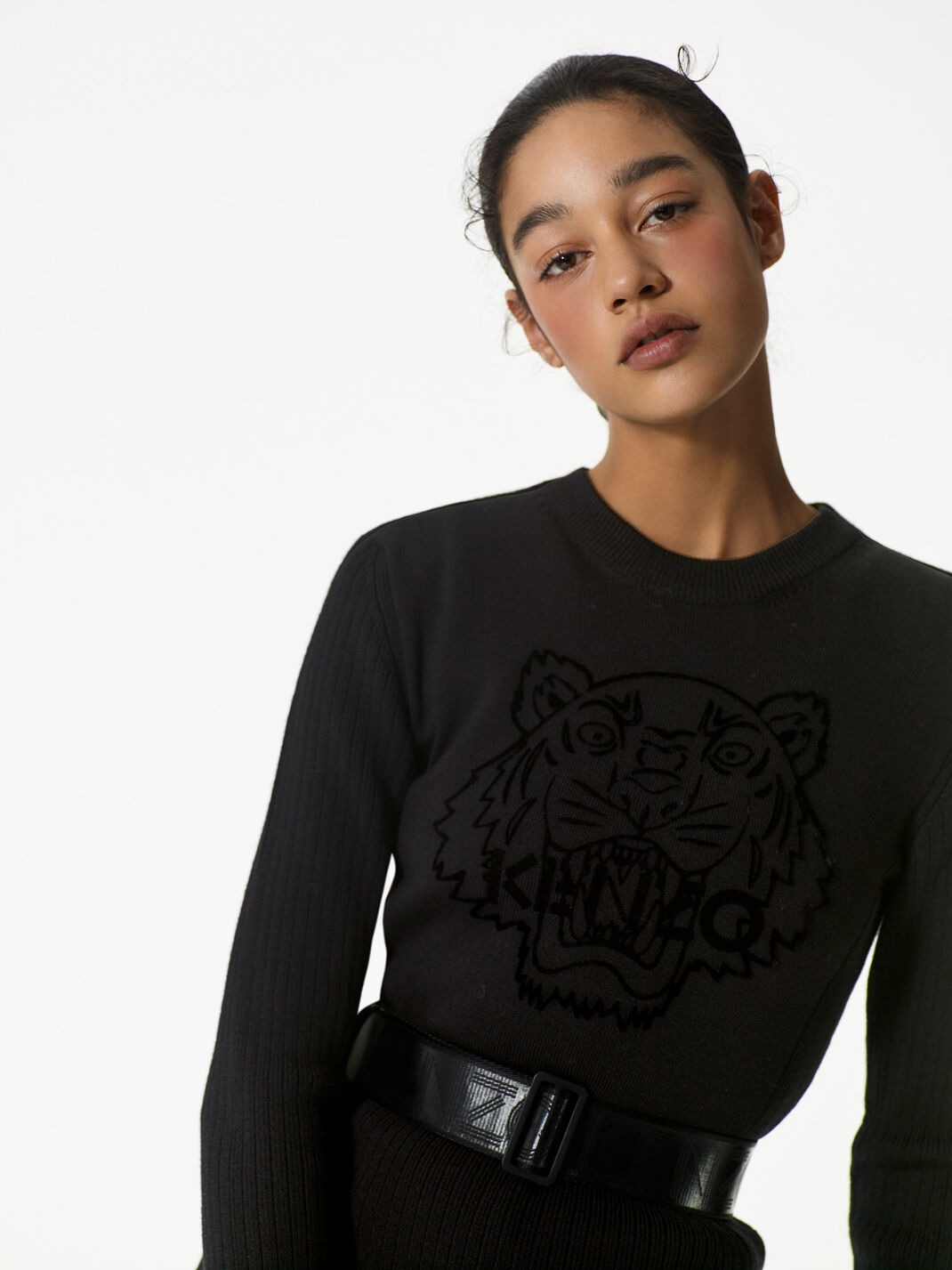 BLACK Flocked Tiger  dress for women KENZO