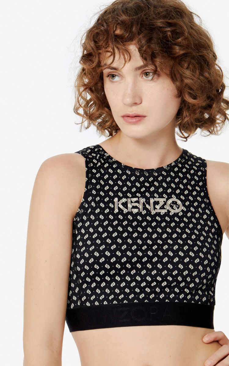 BLACK KENZO Logo 'Ikat' bra for women
