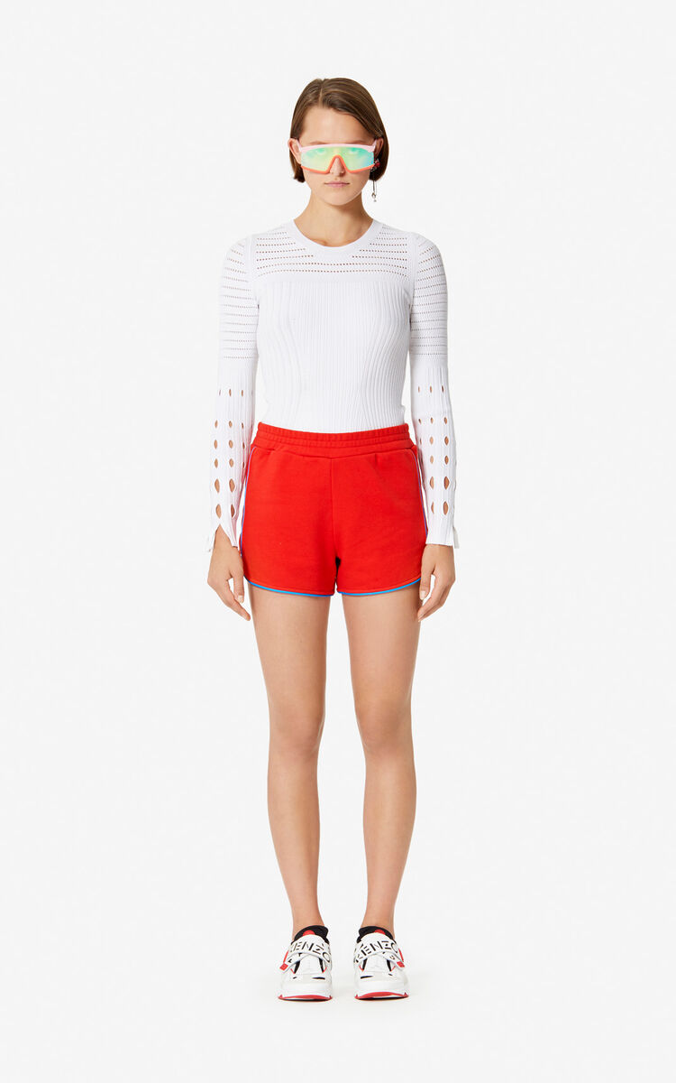 MEDIUM RED KENZO Logo shorts for women