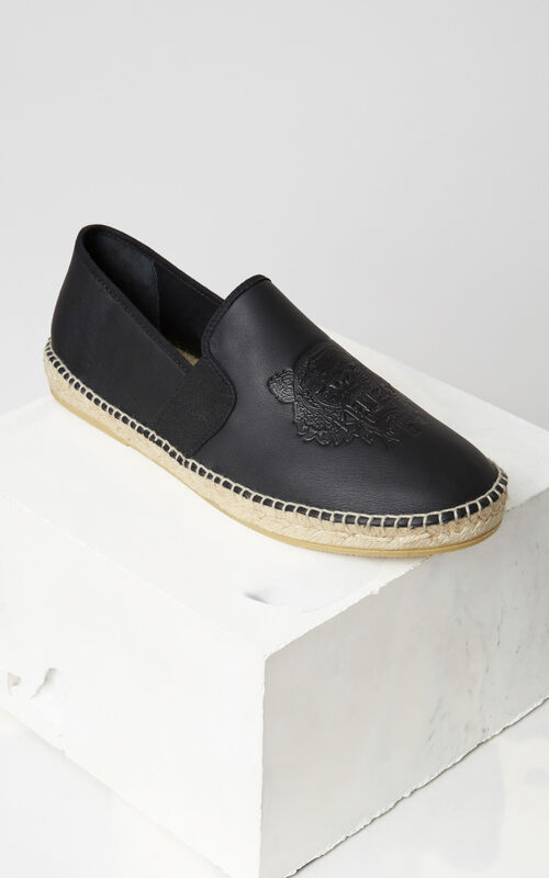 BLACK Elasticated Tiger Espadrilles for men KENZO