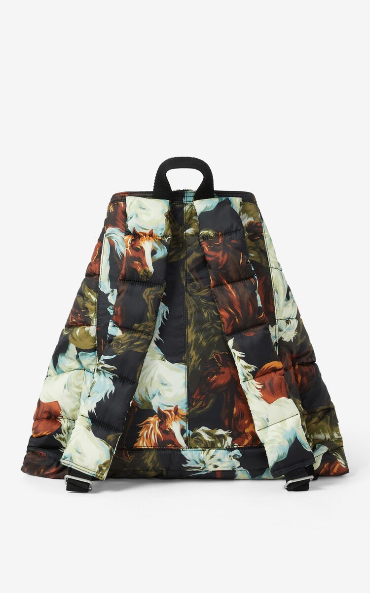 BLACK KENZOMANIA 'Chevaux KENZO' backpack for unisex