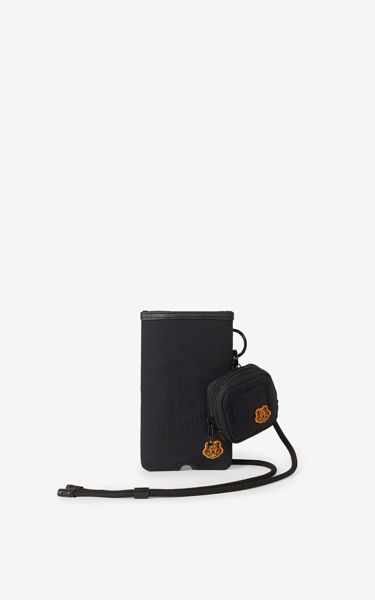 BLACK Tiger Crest phone and headphones holder with strap for men KENZO