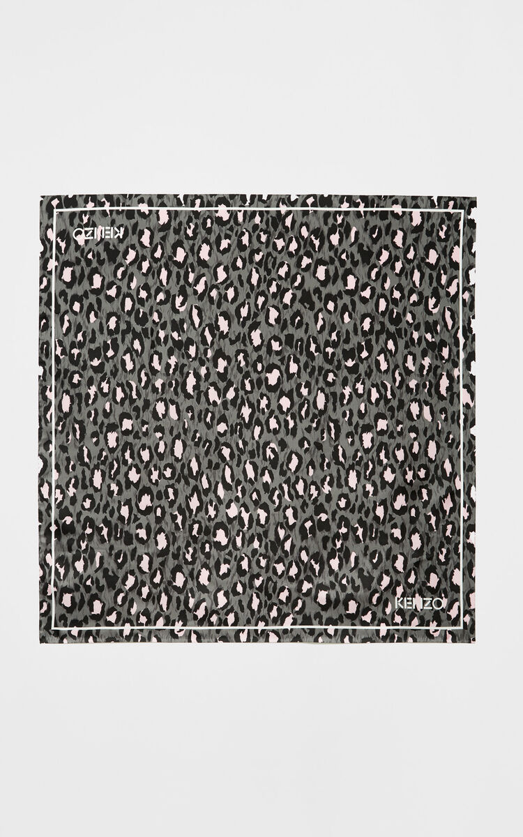 ANTHRACITE Leopard print square silk scarf for men KENZO