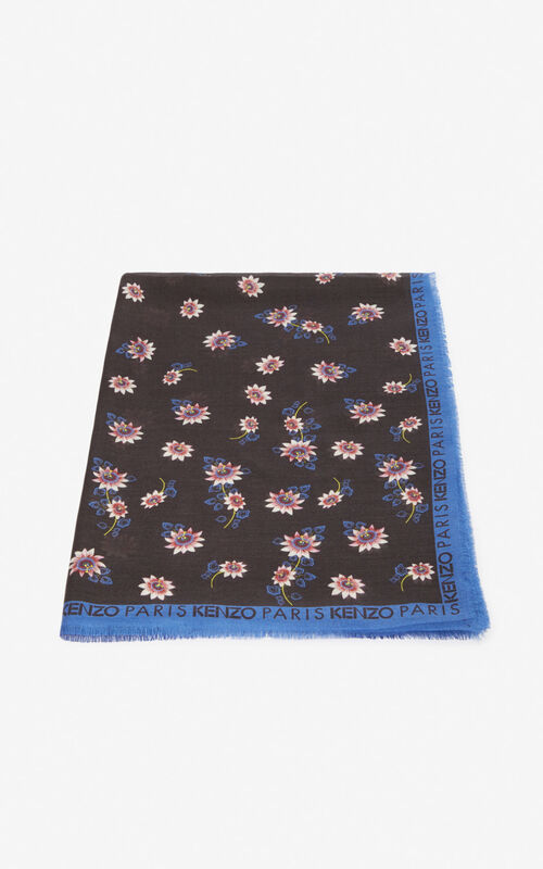 BLACK 'Passion Flowers' scarf for unisex KENZO