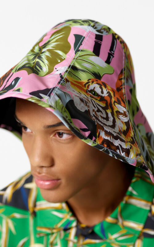 BEGONIA Wide-brimmed fabric 'Bamboo Tiger' hat for men KENZO