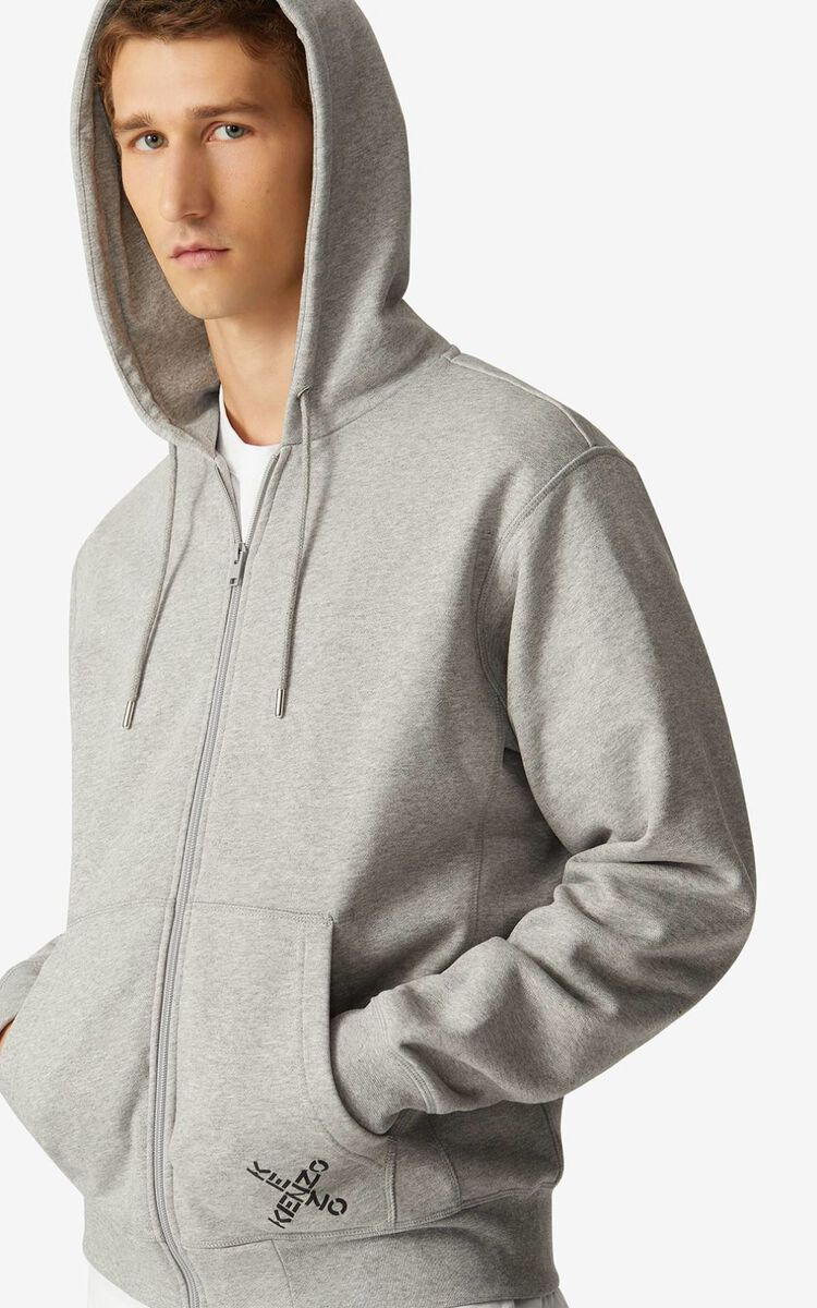 PEARL GREY KENZO Sport 'Little X' zipped hoodie sweatshirt for men