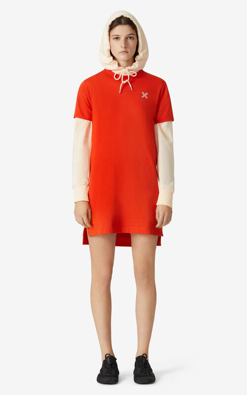DEEP ORANGE KENZO Sport 'Little X' t-shirt dress for women