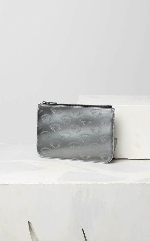 SILVER Multi Eye A5 Clutch for unisex KENZO