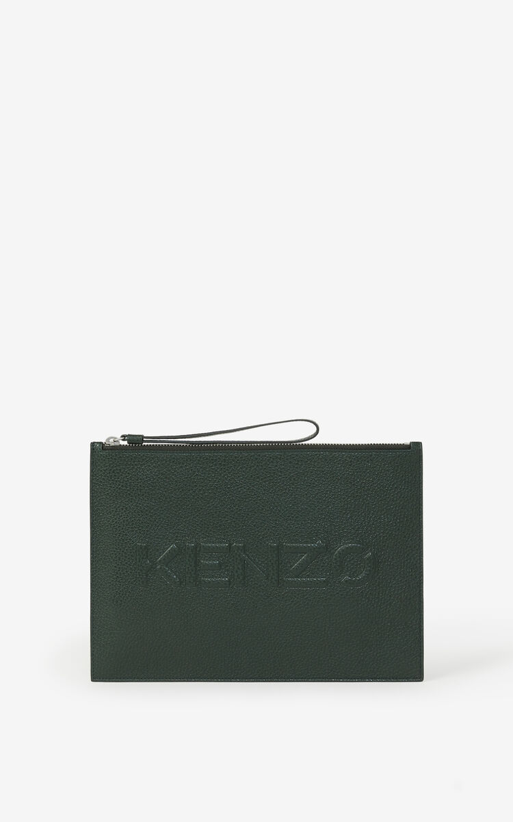 FERN KENZO Imprint large grained leather pouch for unisex