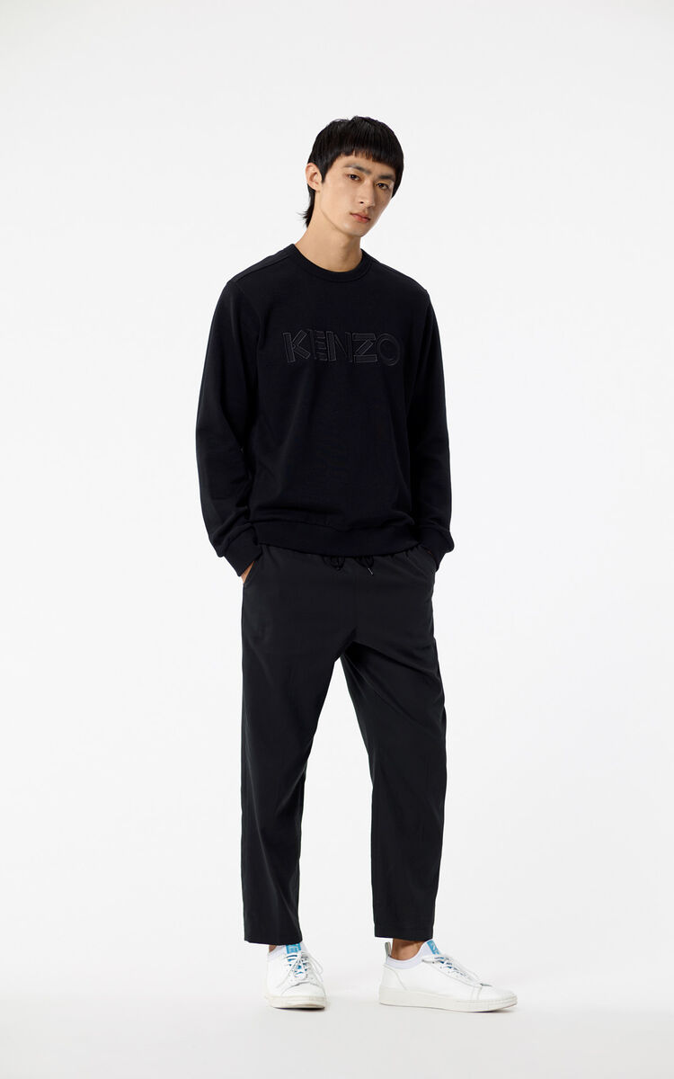 BLACK Jumper with tone-on-tone KENZO Paris logo for men