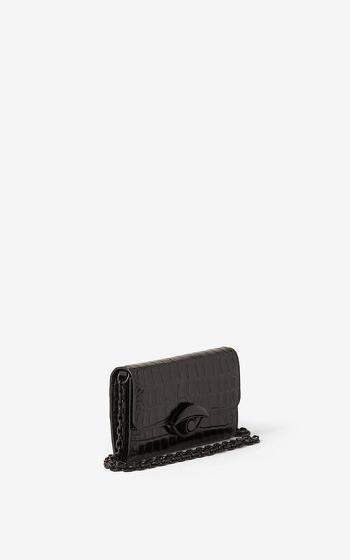 BLACK TALI croc leather wallet with chain for unisex KENZO