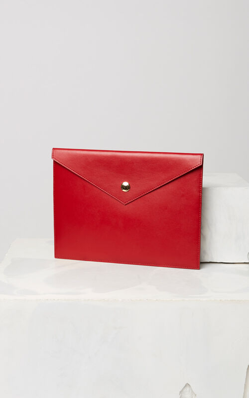 MEDIUM RED Leather A4 clutch bag for unisex KENZO