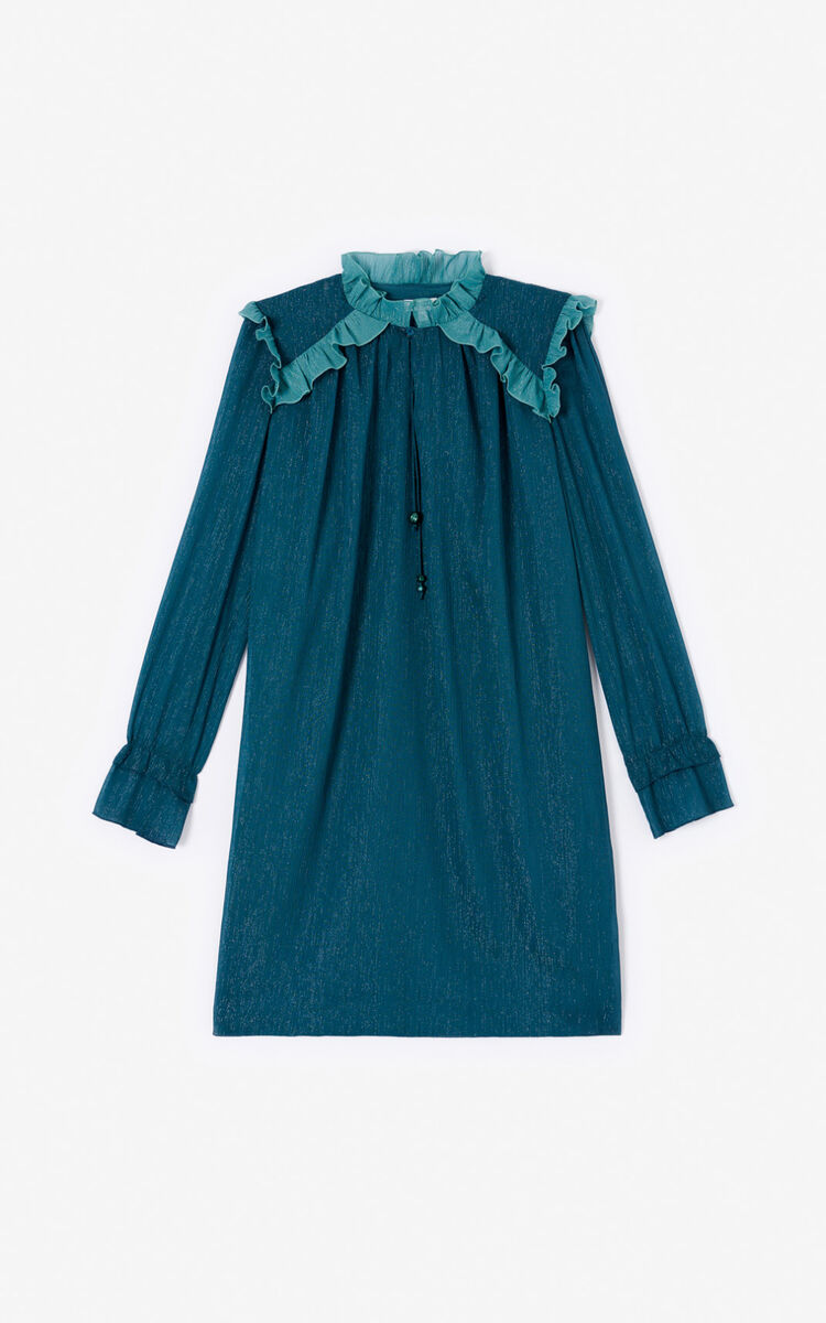 DUCK BLUE Frilled dress for women KENZO