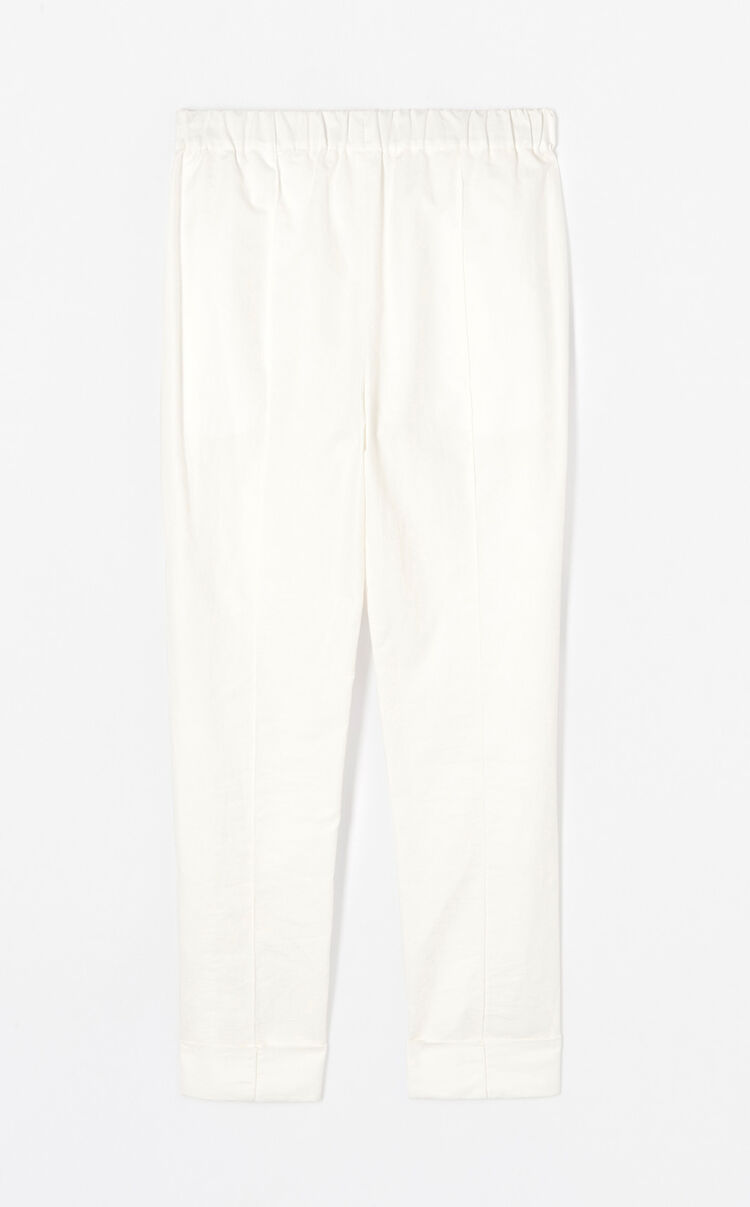 WHITE Crepe turn-up trousers for women KENZO