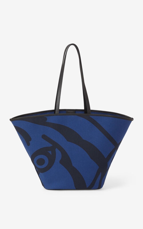 BLUE Large KENZO Arc canvas tote bag for unisex