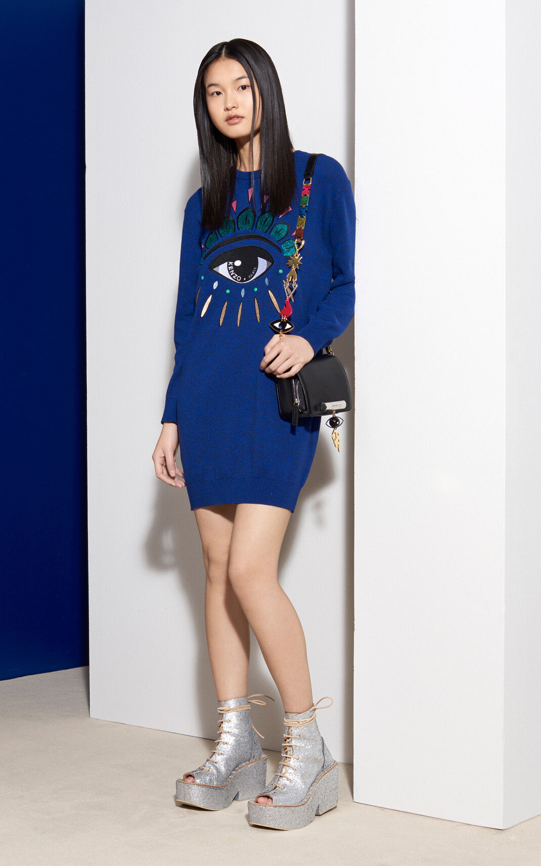 MIDNIGHT BLUE Eye Sweater Dress  for women KENZO
