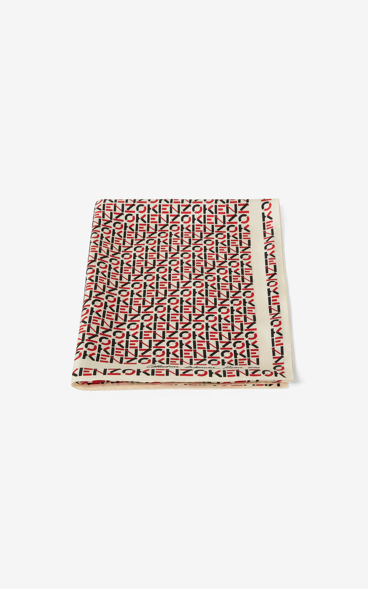 OFF WHITE Monogrammed silk stole for men KENZO