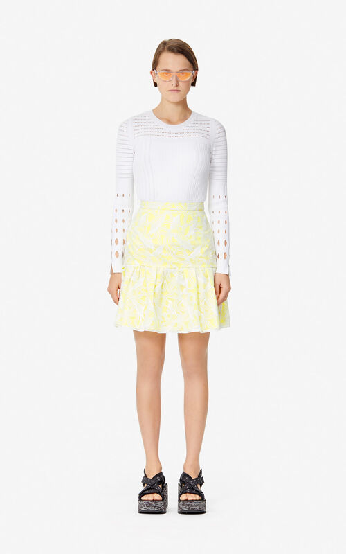 WHITE 'Flying Phoenix' skater skirt for women KENZO