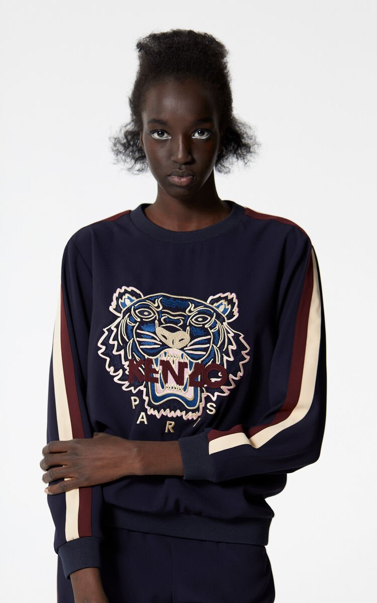 NAVY BLUE Crepe Tiger top for women KENZO