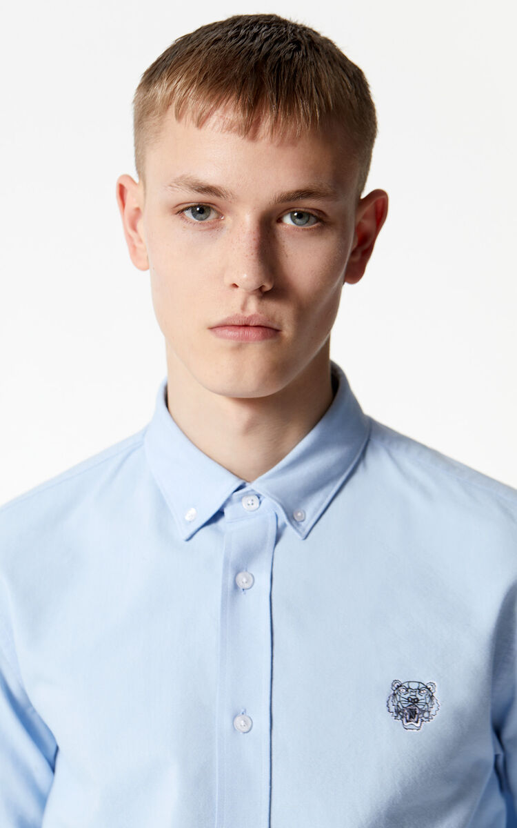 LIGHT BLUE Casual Tiger shirt for men KENZO