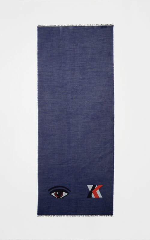 NAVY BLUE Eye scarf for unisex KENZO