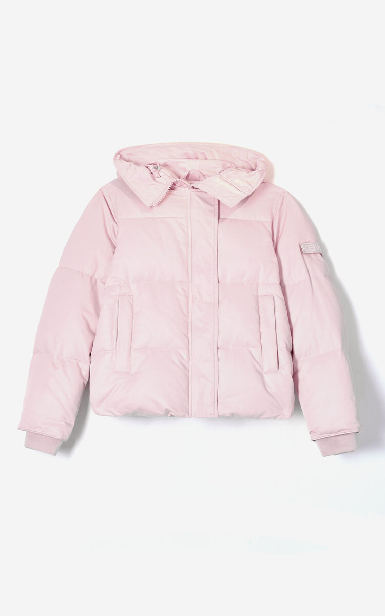 PASTEL PINK Hooded quilted down jacket for women KENZO
